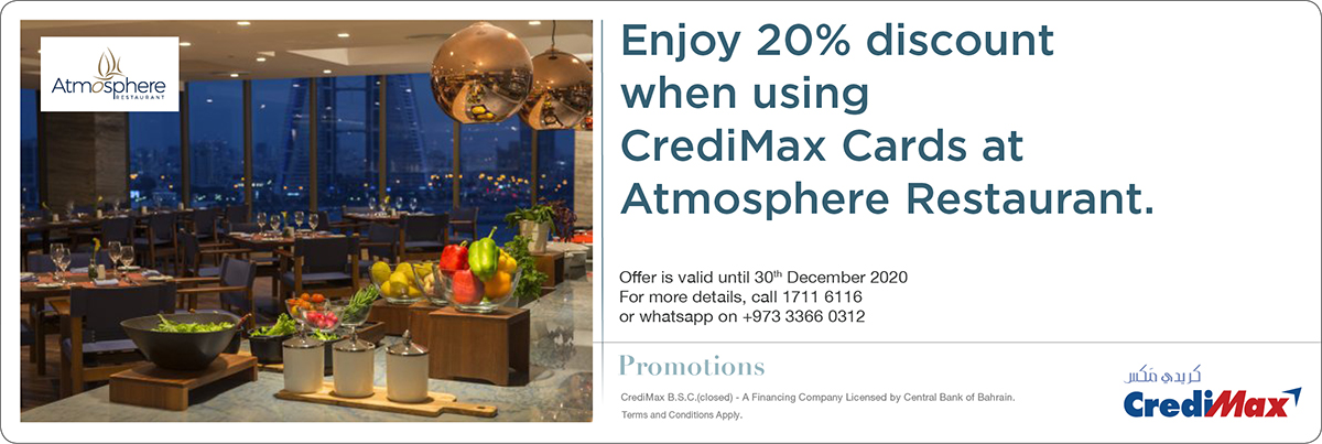 CrediMax and Wyndham Grand Manama Restaurant Offer