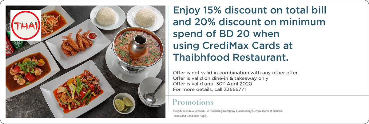 CrediMax and Thaibhfood Restaurant Offer