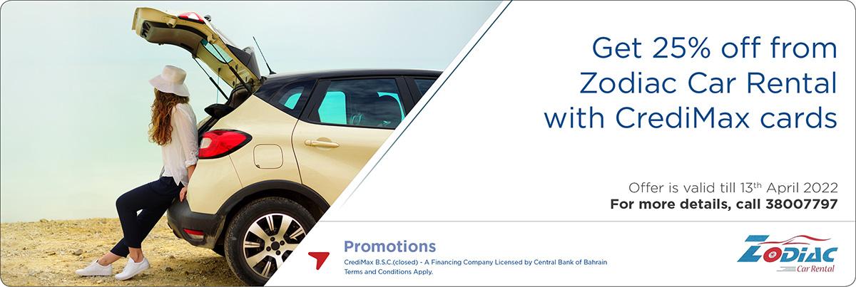 CrediMax and Zodiac Car Rental Offer