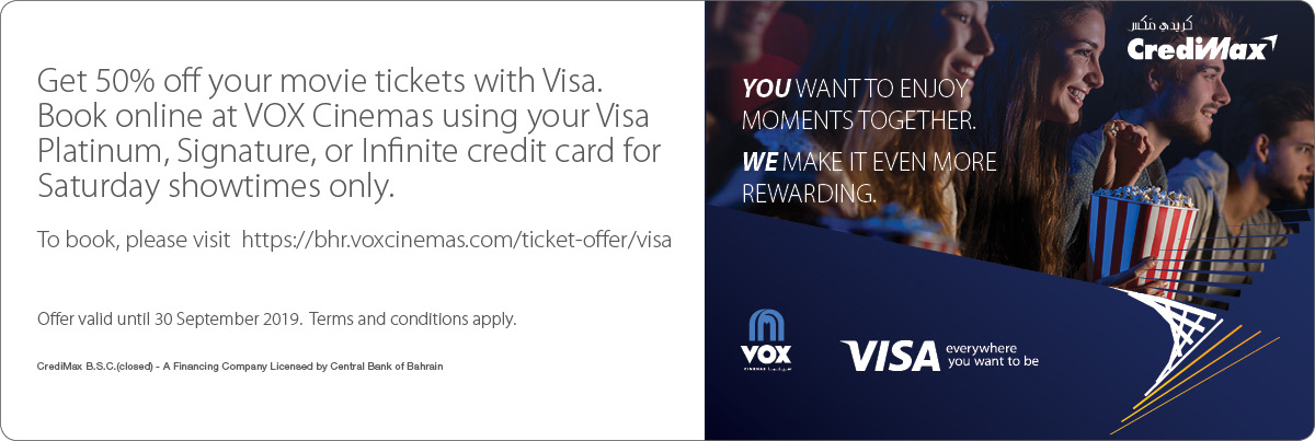 CrediMax and Visa VOX Cinemas Offer!